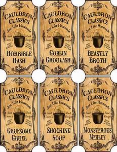 Vintage Inspired Halloween 6 Large Bottle Label Cauldron