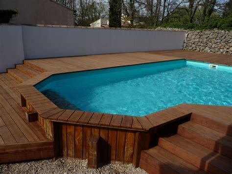 vente de piscine en bois habillage bois d une piscine semi enterr 233 e pose parquet