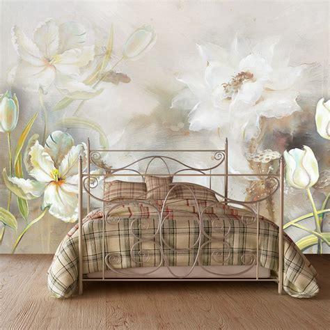 Фотообої Живопис білі тюльпани купити на стіну • Еко Шпалери