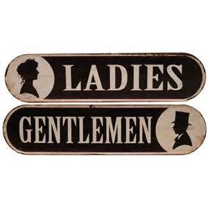Vintage Ladies & Gentlemen Bathroom Sign   A Cottage in