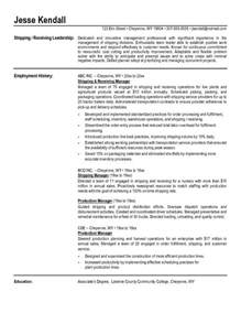 resume objective for shipping and receiving shipping and receiving clerk resume best resume gallery