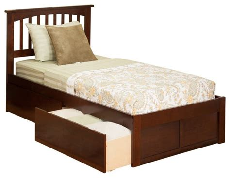 Twin Extra Long Mission Platform Bed / Flat Panel