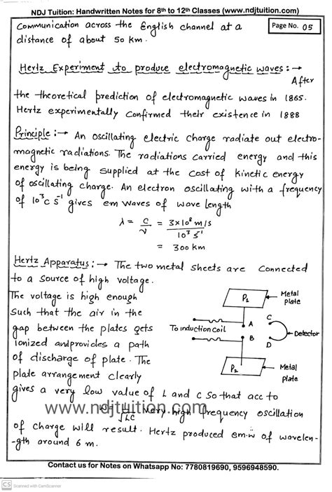 electromagnetic waves handwritten notes  class  physics