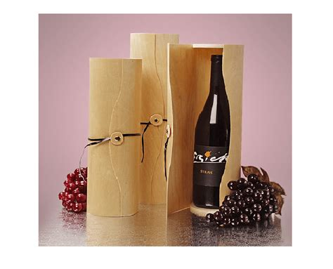 large natural wine box cylinder wood gift box party