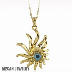 18K YELLOW GOLD PLATED evil eye crystal fashion pendant ...