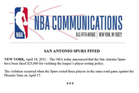 The Spurs rest players on their fifth game in a week and ...