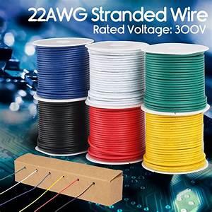 6 Rolls Flexible Pvc Electrical Wire 22 Awg Gauge Copper