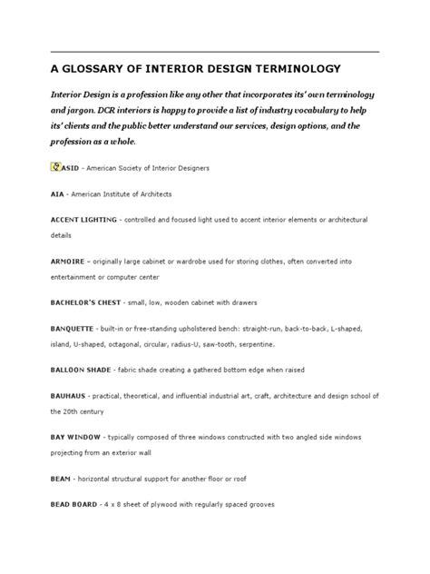 A Glossary Of Interior Design Terminology Docsharetips