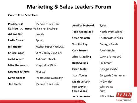 marketing sales leaders forum committee plan