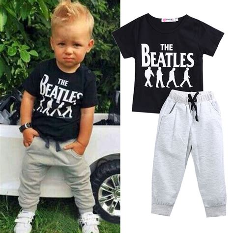 2pcs Baby Boy Kids Short Sleeve T-shirt Tops +Pants Outfit Clothing Set Suit | eBay