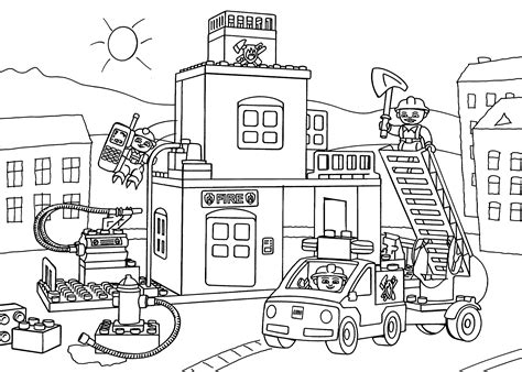 Lego Fire Station Coloring Page For Kids, Printable Free