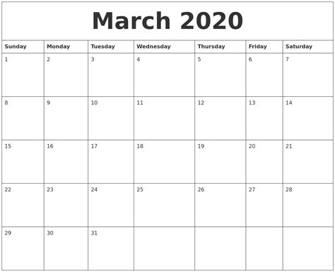 march calendar pages