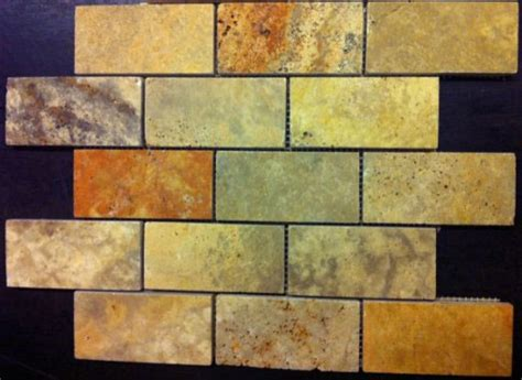 2x4 scabos polished unfilled travertine mosaic tile 6