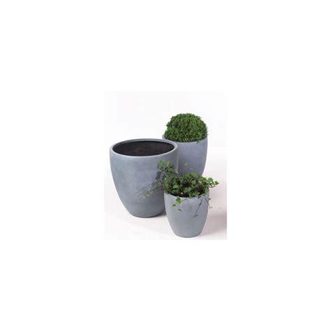 pot rond en fibre de verre gris h 50 x d 50 cm plantes et jardins