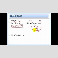 44  Solve Ax^2+bx+c=0 By Factoring Youtube