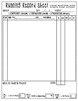 running record template running record sheet sided free by sumens tpt