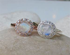 rainbow moonstone halo ring engagement ring promise by belesas With moonstone wedding ring
