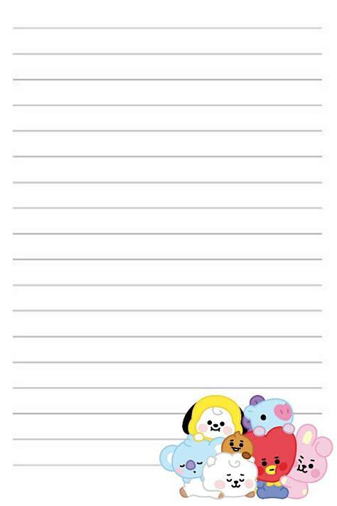 kpop printable bts bts lined paper   kartu