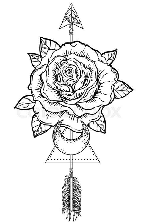 Blackwork tattoo flash. Rose flower,   Stock vector   Colourbox
