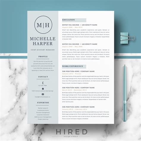 professional modern resume template for word and pages