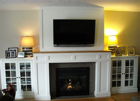 Craftsman Fireplace With Builtin Media Cabinets Fine