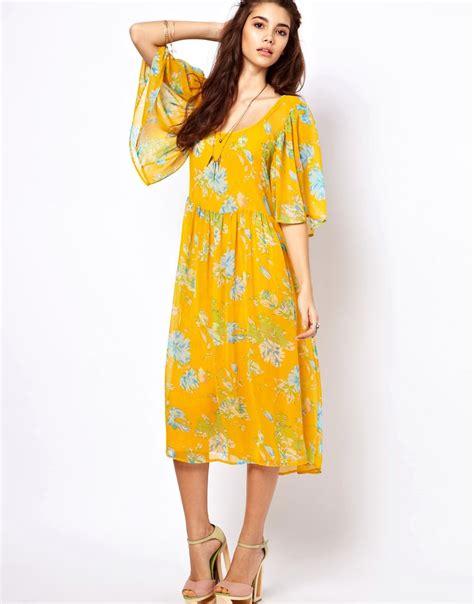 sleeve floral midi dress asos asos midi dress with kimono sleeve in floral print