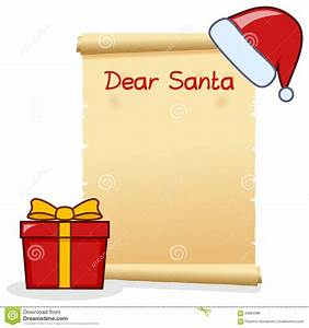 dear santa christmas letter with red gift stock vector With santa scroll letter