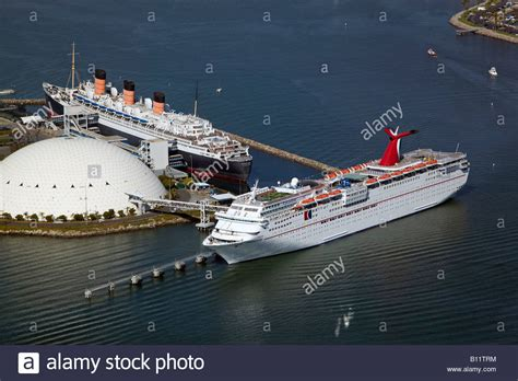 Aerial Above Queen Mary And Carnival Cruise Ship Paradise ...