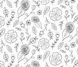 Folk Coloring Flowers Paper Spoonflower Fabric Radianthomestudio sketch template