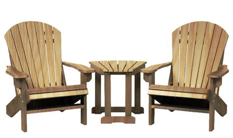 2 wood adirondack chairs with table