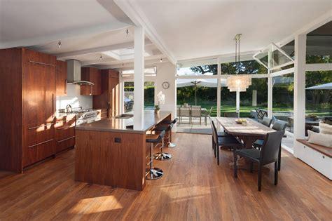 mid century modern kitchen flooring midcentury modern eat in kitchen with walnut floors 9165