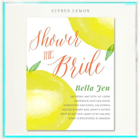 Lemon Bridal Cards ~ Citrus Lemon Invitations on recycled