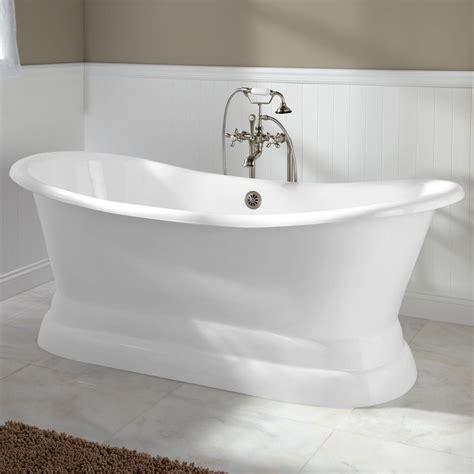 langly cast iron double slipper pedestal tub bathroom