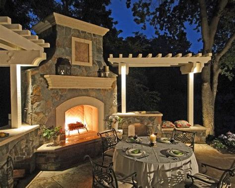outdoor fireplace  pergolas  bench seating flanking