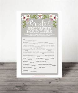 instant download bridal shower mad libs shower game With popular wedding shower games
