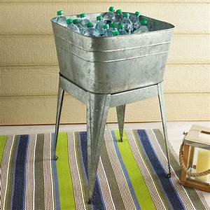 galvanized, metal, wash, tub, with, stand