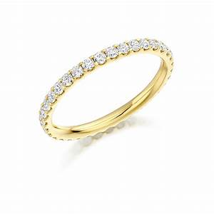 yellow gold scallop set diamond band fet 1022y With eternity wedding rings