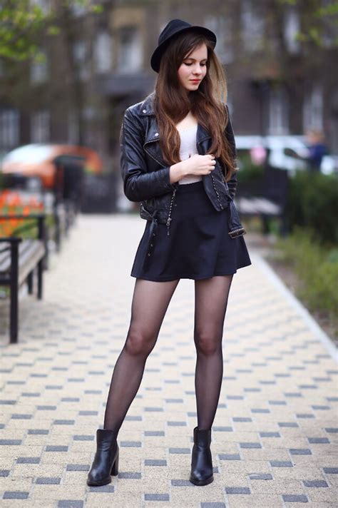Black leather jacket mini skirt hat and tights - Fashion Tights