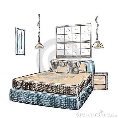 croquis de chambre croquis intérieur moderne de chambre à coucher