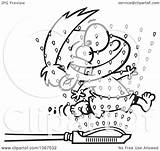 Running Through Clipart Boy Sprinklers Illustration Royalty Outlined Vector Toonaday Leishman Ron 2021 Copyright sketch template