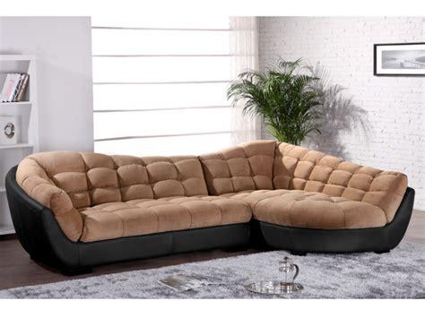canapé d angle cuir et tissu canapé d 39 angle droit tissu et cuir gris blanc leandro