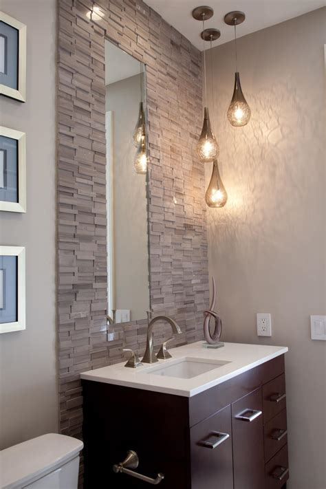 Bathroom Vanity With Stacked Stone Tile Wall Hgtv