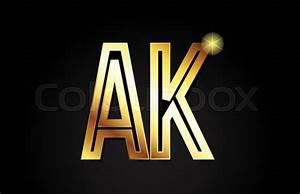 Gold Alphabet Letter Ak A K Logo