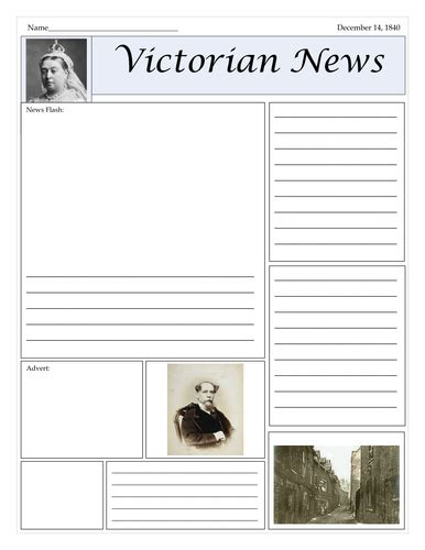victorian newspaper template oliver twist teaching resources