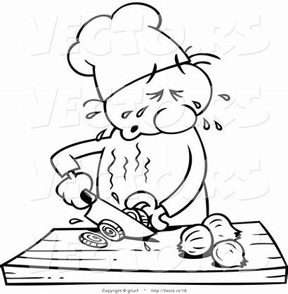 Chef Cartoon Slicing Drawing Onions Line Crying