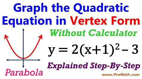 how to graph quadratic equations in vertex form without a calculator youtube