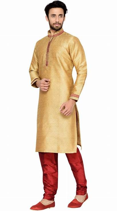 Pajama Kurta Party Wear Cream Silk Dark