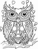 Coloring Sugar Skull Skulls Pages Tattoos Dead Adult Tattoo Adults Animal Books Owl sketch template