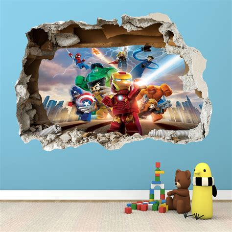 Lego Bedroom Wall Decals by Lego Heroes Smashed Wall Sticker 3d Bedroom Boys