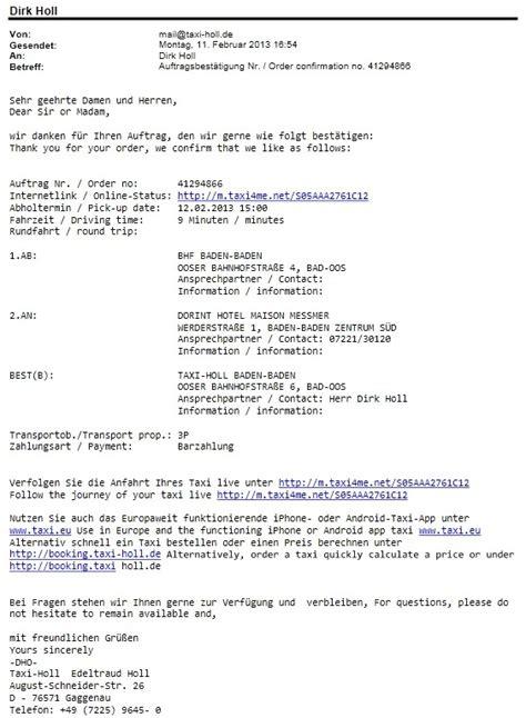 taxi holl auftragsbestaetigung  email